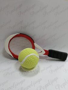 Figurica za Tortu od fondana Reket za Tenis i Loptica
